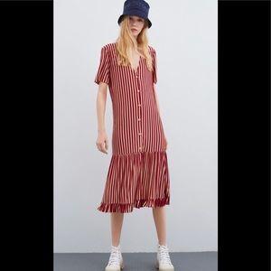 Zara Red / White  Dress